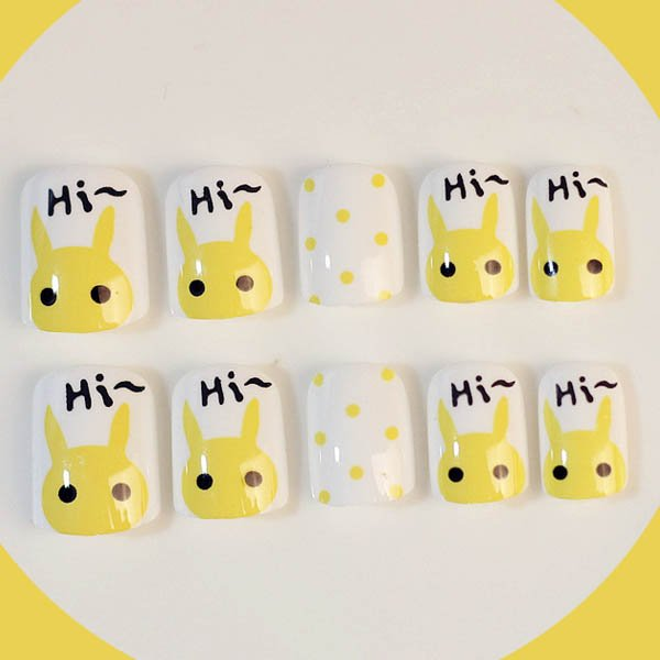 เล็บสีขาวเพ้นท์ลายกระต่าย Hi..Hi สีเหลืองการ์ตูนน่ารัก