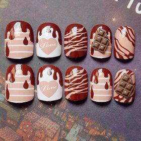 เล็บมือเพ้นท์แฟชั่นขนมหวานลายช็อคโกแลตอะคริลิคสุดเก๋