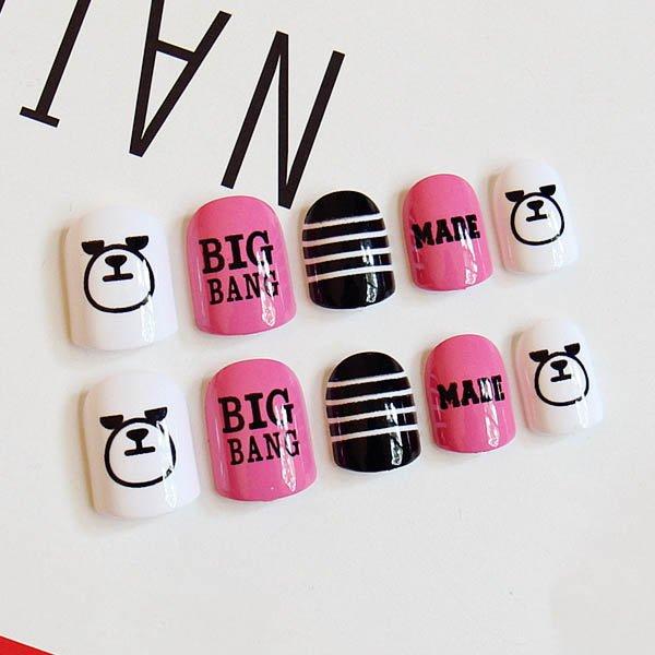 เล็บมือแฟชั่นลาย BIGBANG สีชมพูดำสลับขาว