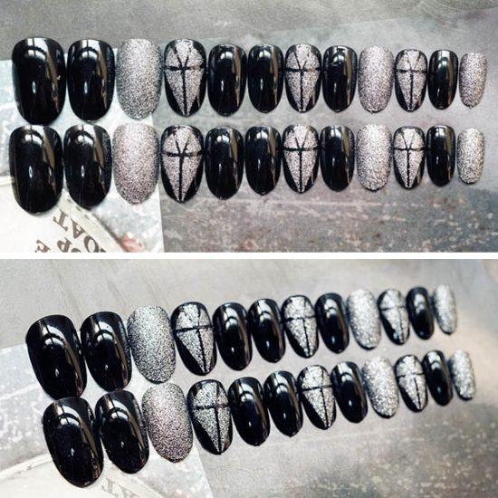 สีเล็บปลอมแฟชั่นปลายแหลมพื้นสีดำสลับกริกเดอร์สีเงินด้านบนสวยหรูดูเท่ห์มาก