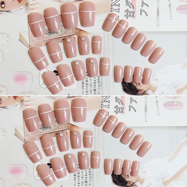 เล็บปลอมแฟชั่่นเล็บมือยาวสีชมพูฝังคริสตัลเพรชสไตล์ญี่ปุ่น