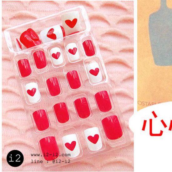 เล็บปลอมแฟชั่นสีแดงสลับขาวเพ้นท์ลายหัวใจหวานเว่อร์